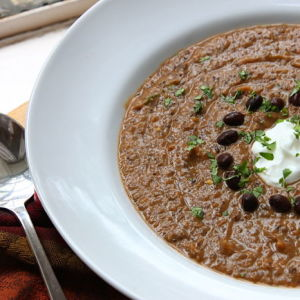 Black Bean and Candied Sweet Potato Soup