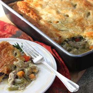 Chicken Pot Pie with Sweet Potatoes, Leeks and Portabella Mushrooms