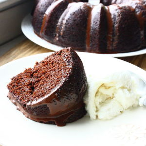 Chocolate Pumpkin Bundt Cake with a Gooey Chocolate Glaze