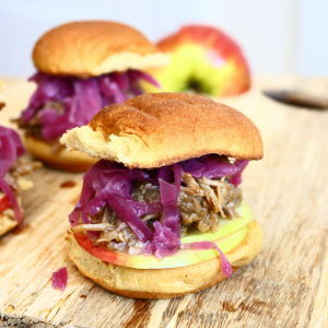 Cider-Roasted Pulled Pork Sliders with Braised Red Cabbage and Crisp Apples