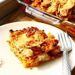 Harvest Lasagna with Roasted Squash and Caramelized Onions