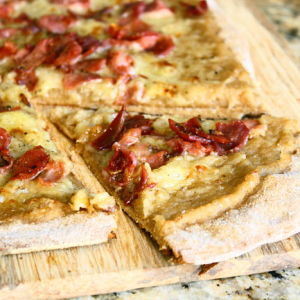 Gourmet Pizza with Gruyere, Crispy Prosciutto and Caramelized Onion Puree