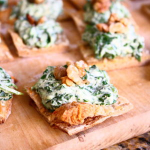 Spinach-Ricotta Spread on Crispy Parmesan Squares