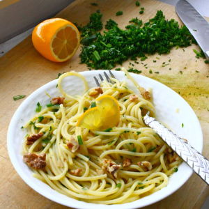 Meyer Lemon Pasta with Fresh Herbs, Shallots and Toasted Walnuts