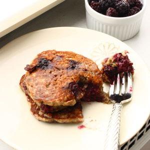 Oatmeal-Blackberry Pancakes with Orange Zest and Greek Yogurt