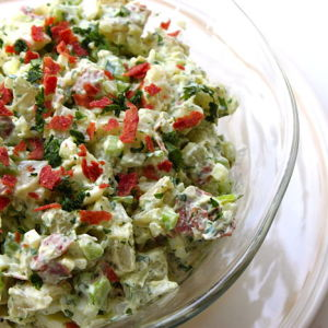Caribbean-Style Yuca Salad with Crispy Bacon, Sweet Onion and Celery