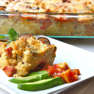 Four-Cheese Southwestern Breakfast Strata with Chorizo