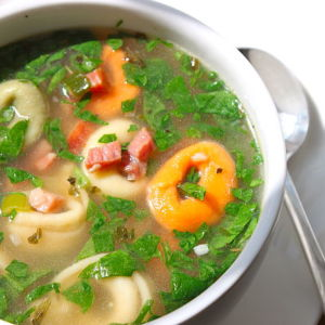 Tortellini Soup with Prosciutto and Spinach