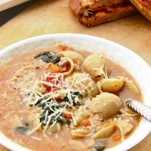 Tuscan Sausage Soup with Shell Pasta, Spinach & White Beans