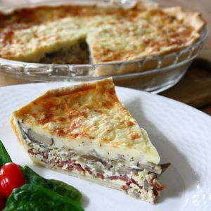Mushroom Quiche with Crisp Turkey Bacon and Sweet Onions