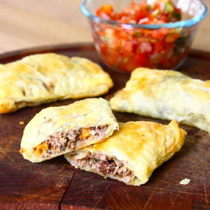 Empanadas Stuffed with Lamb, Sweet Potatoes, and Montrachet