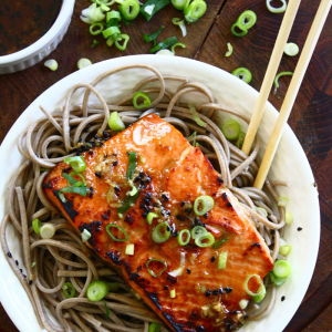 Sesame Ginger Salmon over Soba Noodles