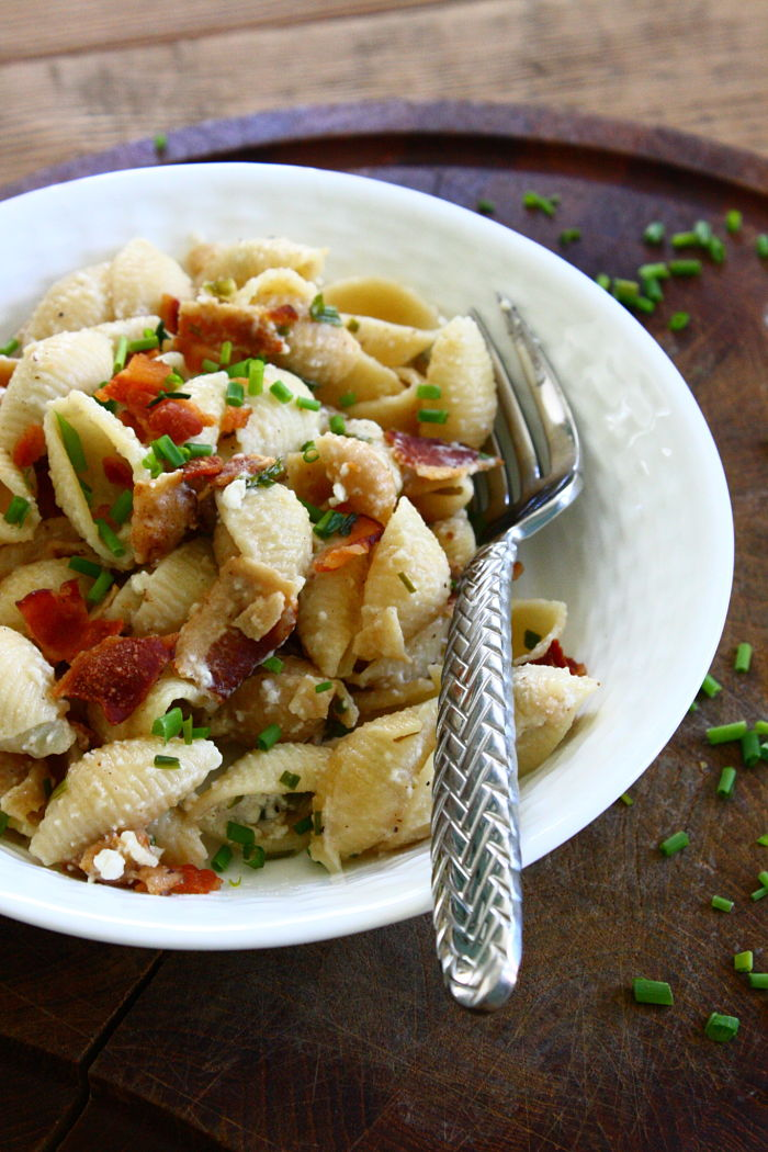 Goat Cheese and Bacon Pasta