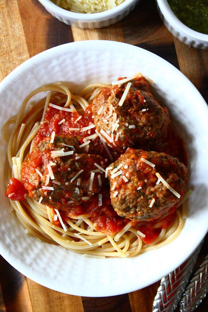 5-Minute Pesto Parmesan Meatballs
