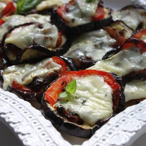 Broiled Eggplant with Tomatoes, Caramelized Onion, and Brie