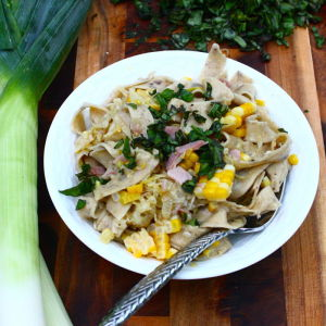 Pappardelle with Summer Corn, Caramelized Leeks and Sweet Basil
