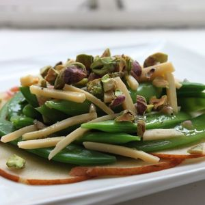 Sugar Snap Peas with Sliced Pears, Gouda, and Pistachios