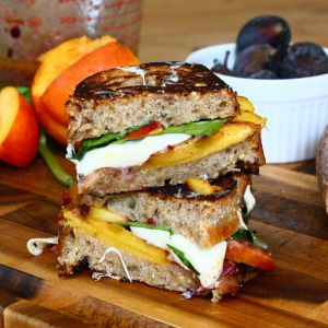 Peach and Mozzarella Paninis with a Fig-Shallot Tapenade