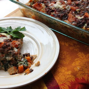 Vegetarian Lasagna with Spinach, Sweet Potatoes, and Fontina Cheese