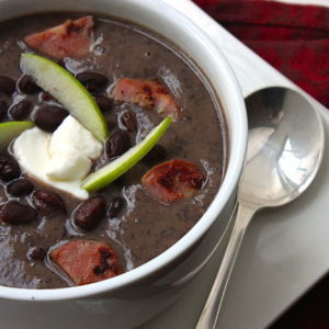 Black Bean Soup with Chicken Sausage and Honey Crisp Apple