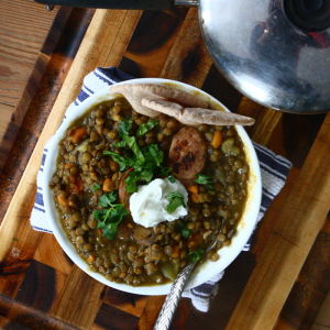Lentil and Sweet Potato Stew with Chicken Sausage