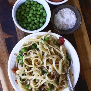 Lighter Pasta Carbonara with Peas