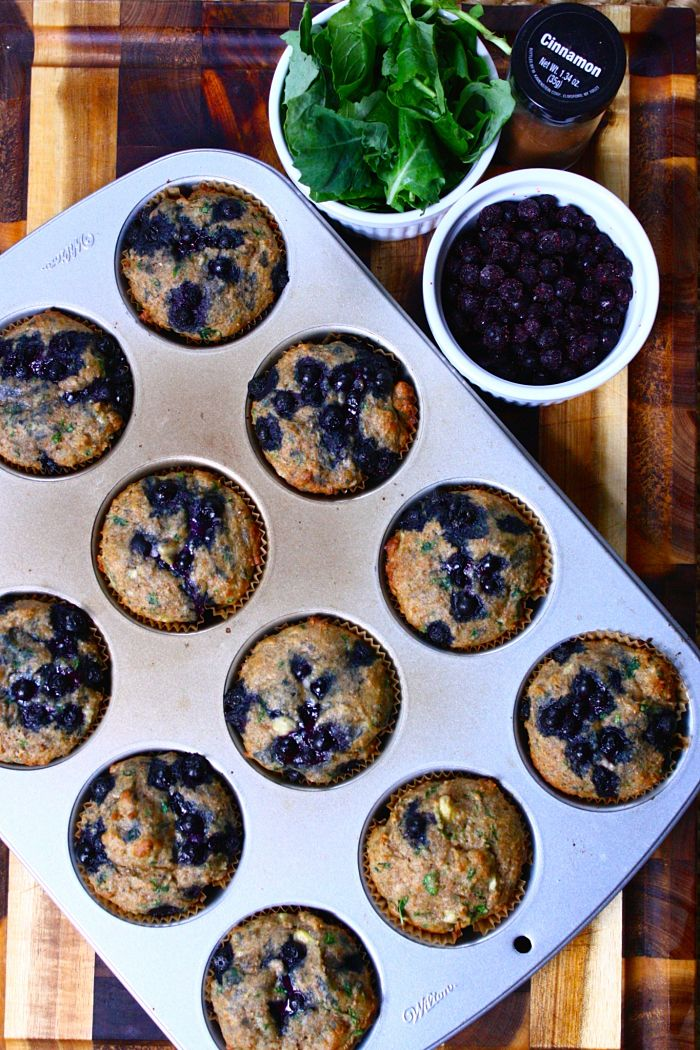 Kid-Friendly Blueberry Kale Muffins