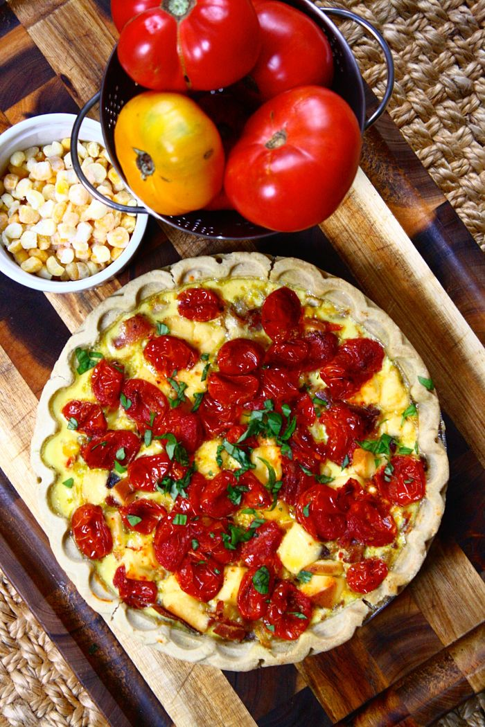 Roasted Corn & Tomato Pie