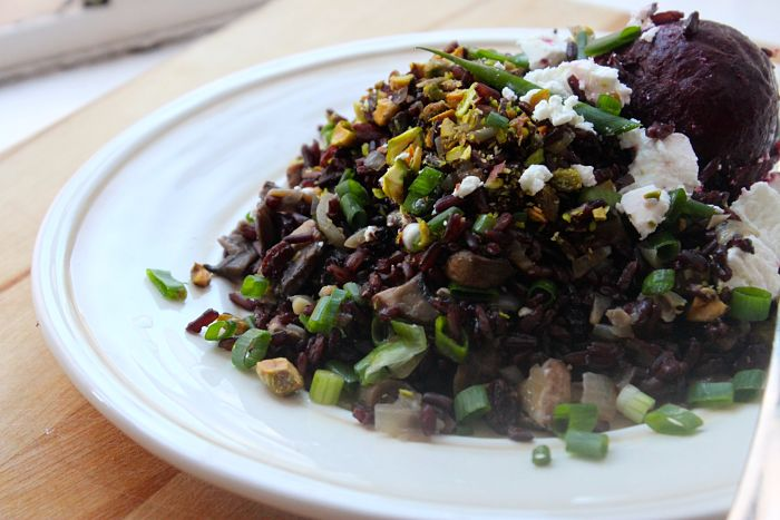 Black Rice Salad with Roasted Beets & Goat Cheese