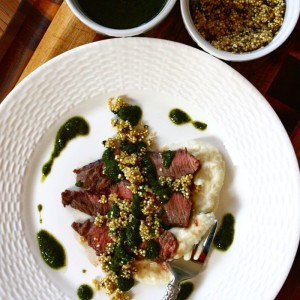 Sliced Steak with Turnip Puree and Toasted Quinoa