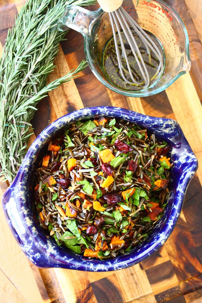 Wild Rice Salad Rosemary Maple Dressing