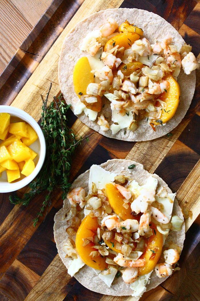Shrimp Quesadillas w:Peaches, Caramelized Onions & Brie