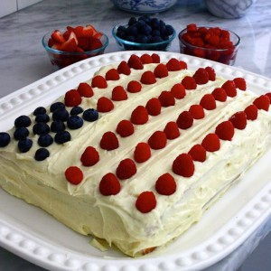 Red, White and Blueberry Flag Cake