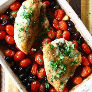 Roasted Chicken with Tomatoes, Olives and Fresh Herbs