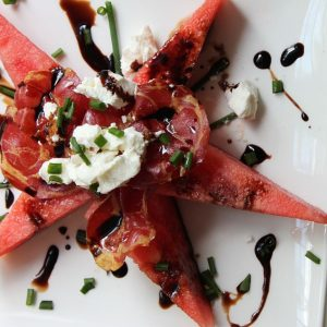 Grilled Watermelon with Goat Cheese and Crispy Pancetta
